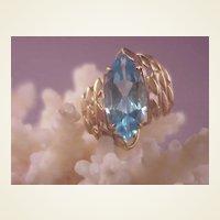Pretty 10k Blue Topaz/Marquis/Size 5 3/4