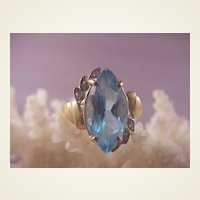 Pretty 14k Blue Topaz Diamond Ring/size 5 1/2