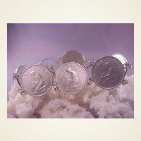 "Nice Vintage Belgium Coin Bracelet /1 Franc/8"" long"