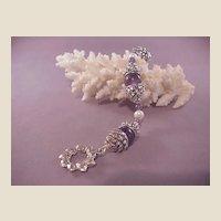 Estate Sterling Amethyst/Pearl Bracelet