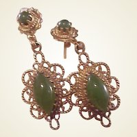 Gorgeous Estate 14k Jade Drop Earrings/Filigree