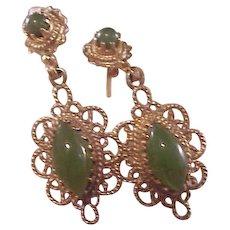 Gorgeous Estate 14k Jade Drop Earrings/Filigree