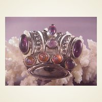 Vintage Mexican Sterling Crown Pin/Amethysts
