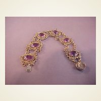 Vintage GF and Purple Crystal Bracelet