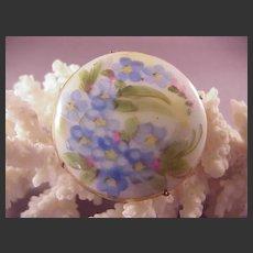 Pretty Vintage Painted Porcelain Pin