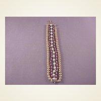 Vintage GF/Garnet/Pearl Bracelet