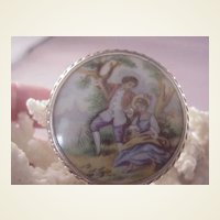 Vintage Sterling Limoges Porcelain Pin/Viny