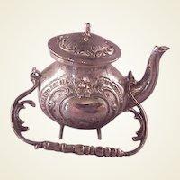 Vintage 800 Silver Ornate Miniature Teapot