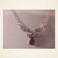 10k Sapphire and Diamond Necklace