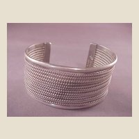 Vintage Lrg. Mexican Sterling Rope Twist Cuff