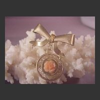 Vintage GF/Coral Pin/Bow