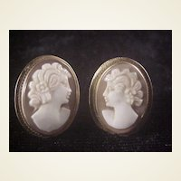 Nice 14k Carved Cameo Earrings/Posts