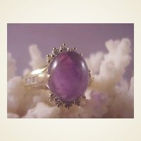Lovely 14k Cabochon Amethyst/Diamond Ring