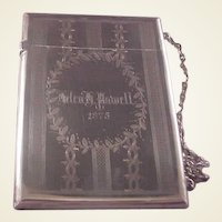 Victorian Sterling Card Case/dated 1875/Helen Powell/Whiting