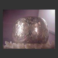 Vintage Sterling Chased Cuff Bracelet/950