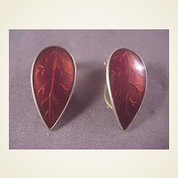 Vintage Sterling/Red Enamel Earrings/Norway