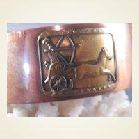 Vintage Copper/Brass Cuff/Chariot Scene