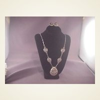 Vintage Sterling/MOP  Necklace/Earring Set