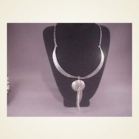 Vintage Sterling Necklace/Feathers