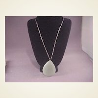Jade Pear Shaped Pendant/Sterling Chain