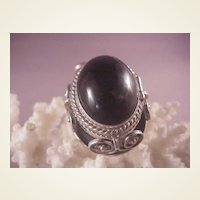 Vintage Mexican Sterling/Onyx Pin/locket