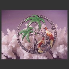 Vintage Sterling/Enamel Florida Pin/Palm Trees/Birds