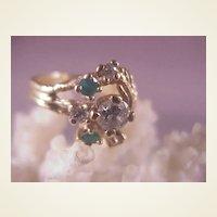 14k Diamond/Emerald Ring