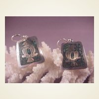 Vintage Mexican Sterling/Inlaid Turquoise Earrings