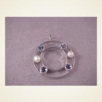 Unique 14k White Gold/Sapphire/Pearl Pendant