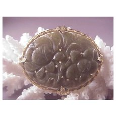 Pretty Vintage GF /Carved Jade oval Pin