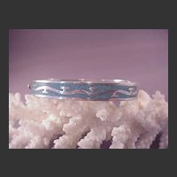 Mexican Sterling/Inlaid Turquoise Bangle Bracelet