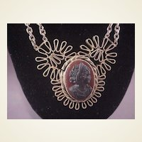 Vintage Unusual Hardstone Cameo Necklace/Brass