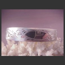 Brushed Sterling Bangle/Etched/Russell