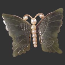 Jade & Pearl Butterfly Pin