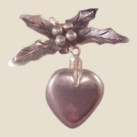Unusual Mexican Sterling Heart Perfume/Pointsetia pin