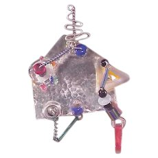 Funky Sterling Pin/ Glass Accents