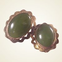 Vintage GF and Jade Clip Earrings