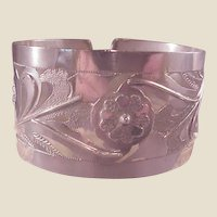 Vintage Lrg. Sterling Cuff/Cutout/flowers