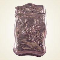 Vintage Sterling BPOE Elks Match Safe/Vesta