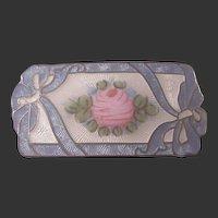 Lovely Vintage Sterling/Enamel pin/Flower/bows