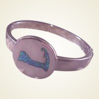 Sterling Cape Cod Bangle/Inlaid Opal