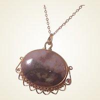 Wonderful Vintage G.F. Picture Agate pendant/Chain