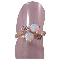 Lovely 14k Opal/Diamond Ring