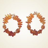 Large Amber/GF Hoop Earrings