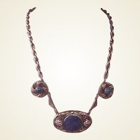 Beautiful Ornate Vintage Silver/Lapis Necklace