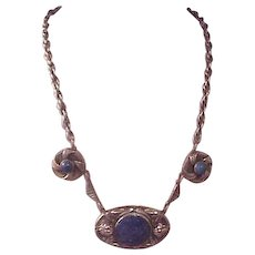 Beautiful Ornate Vintage Silver/Lapis Necklace