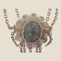 Ornate Victorian Brass & Hardstone Cameo Necklace