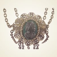 Ornate Victorian Brass & Hardstone Cameo Necklace