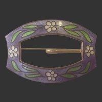Vintage Cloisonne Enamel Buckle Brooch/Lavender