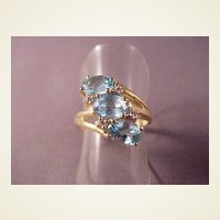 Vintage 14k Blue Topaz Ring/3 Oval Topaz on Angle/Diamond accents